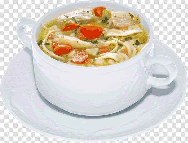 Ramen dish in white ceramic bowl, Chicken soup Jewish cuisine.