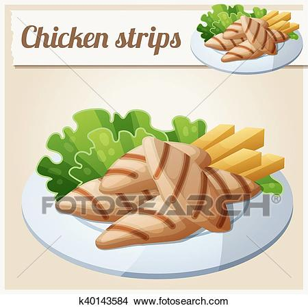 Grilled chicken strips. Detailed Vector Icon Clipart.