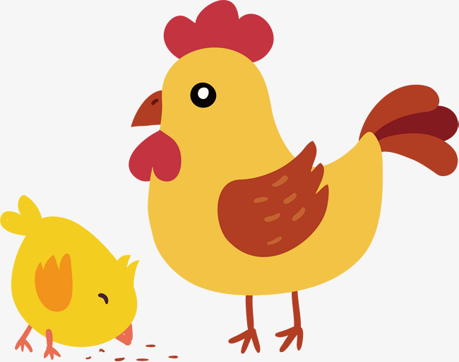 Cute Hen And Little Yellow Chicken, Chic #76513.