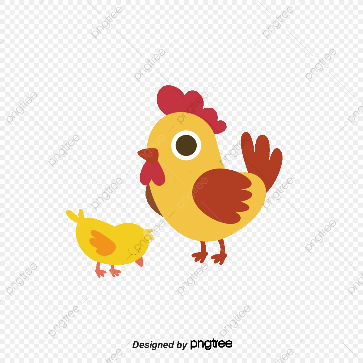 Cute Hen And Little Yellow Chicken, Chicken Vector, Vector Material.