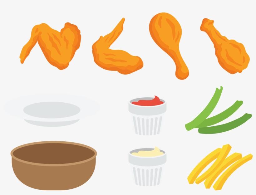Buffalo Wing Fried Junk Food Clip Art.