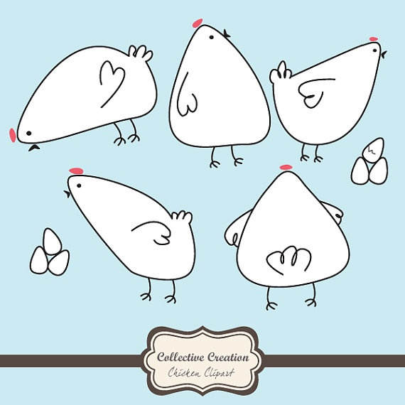 Cute Doodle Chicken & Egg Clipart.