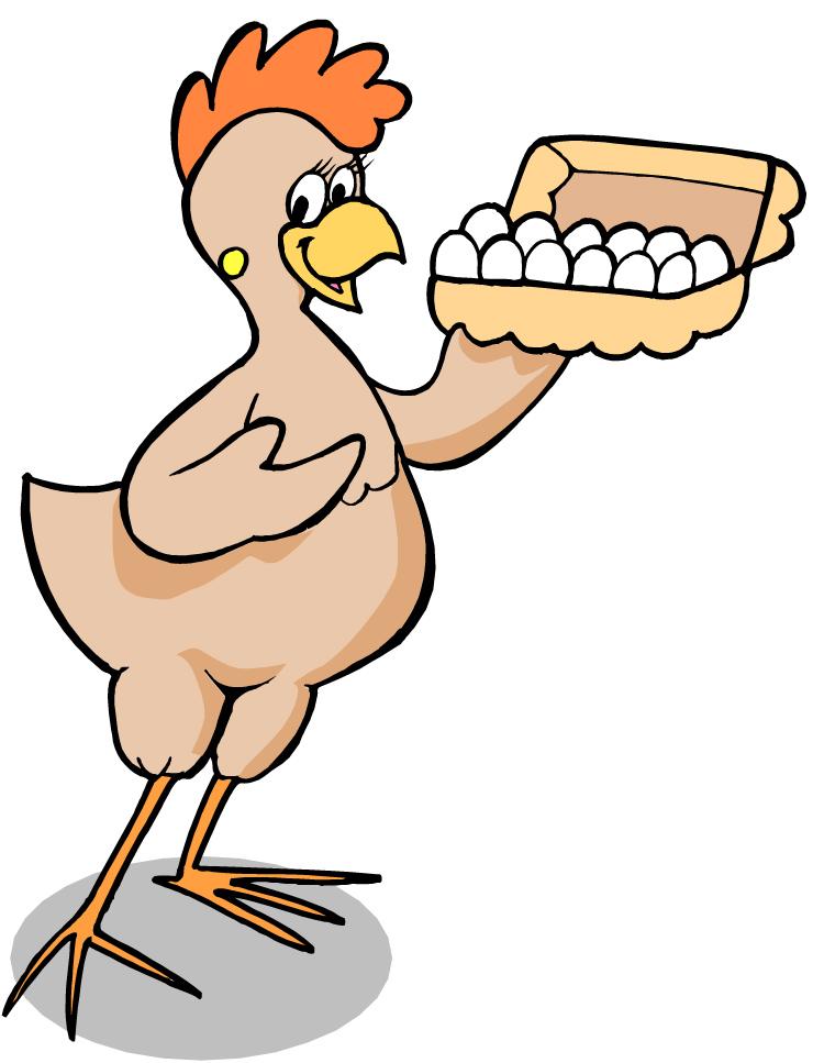Chicken With Eggs Cartoon.