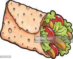 Chicken Fajita Wrap Sandwich stock vectors.
