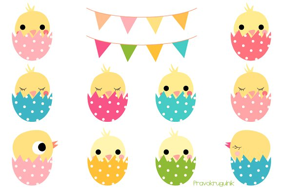 Cute Easter chickens in eggs clipart ~ Illustrations on Creative.