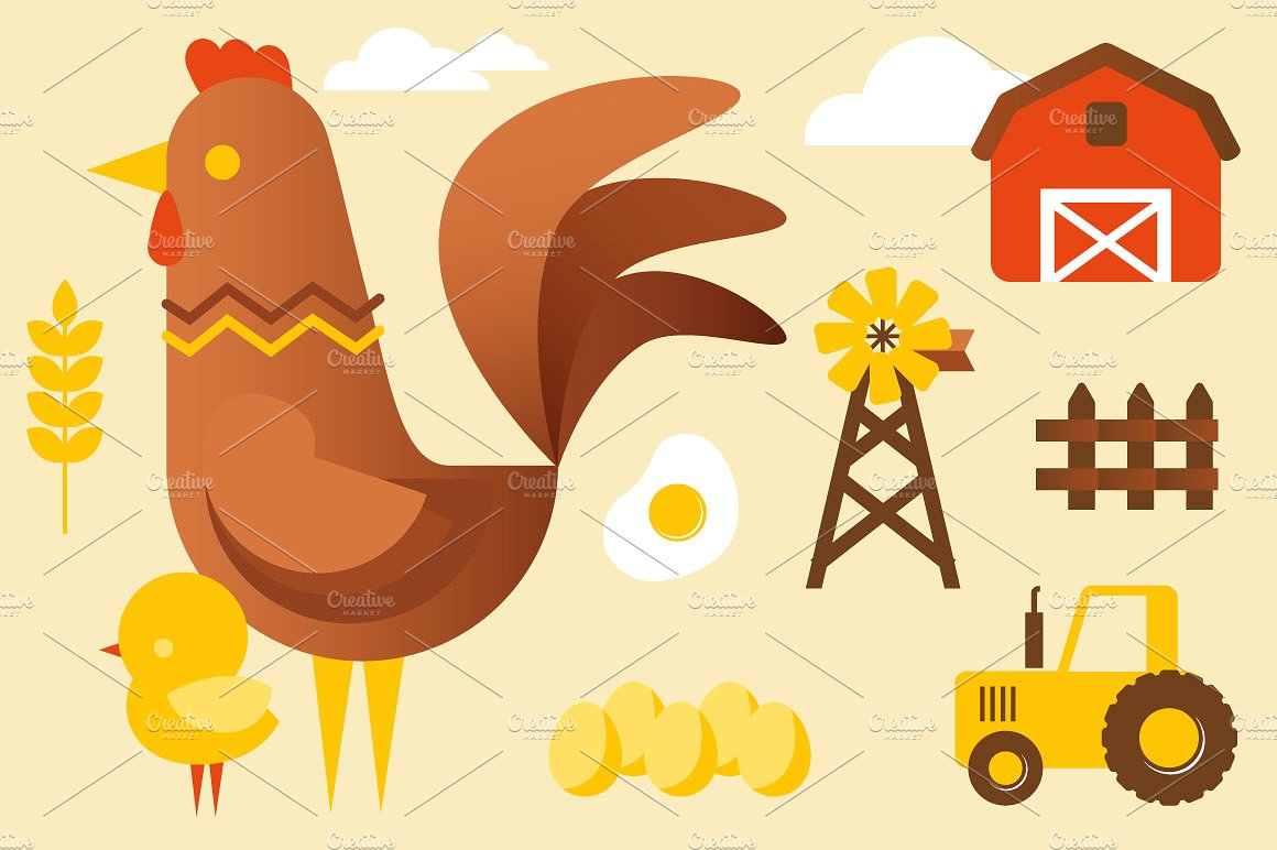 Chicken and farm ~ Illustrations on Creative Market.