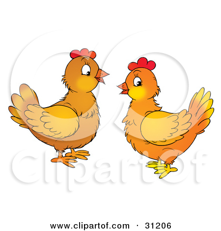Clipart Illustration of Two Chatty Chicken Hens Facing Each Other.