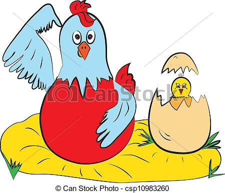 Clip Art Vector of chick hen color page csp10983260.