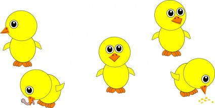 Cute graphic chicks clipart.