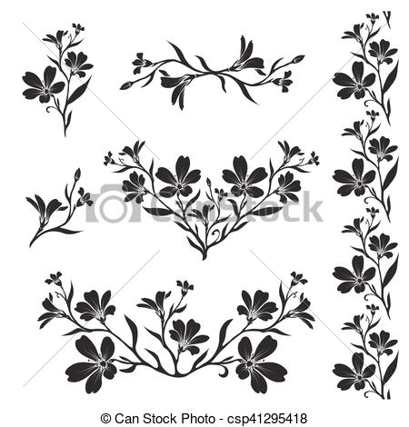 Vector Clip Art of Chickweed graphic flower silhouettes.