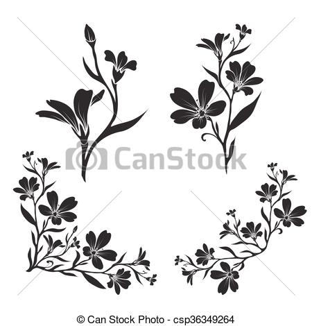 Clip Art Vector of Chickweed graphic flower silhouettes.