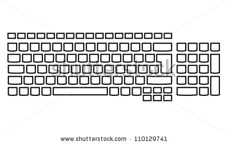 Plain Unlabelled Islandstyle Keyboard Us Layout Stock Vector.