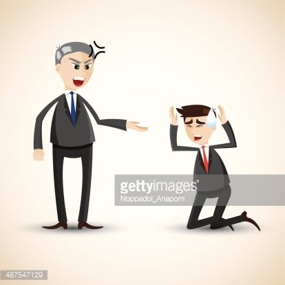 cartoon businessman angry Clipart Image.