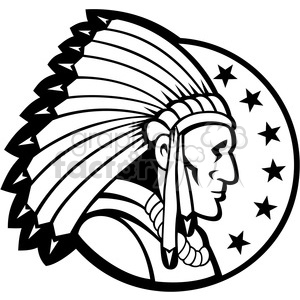 black and white indian chief side headdress 001 clipart. Royalty.