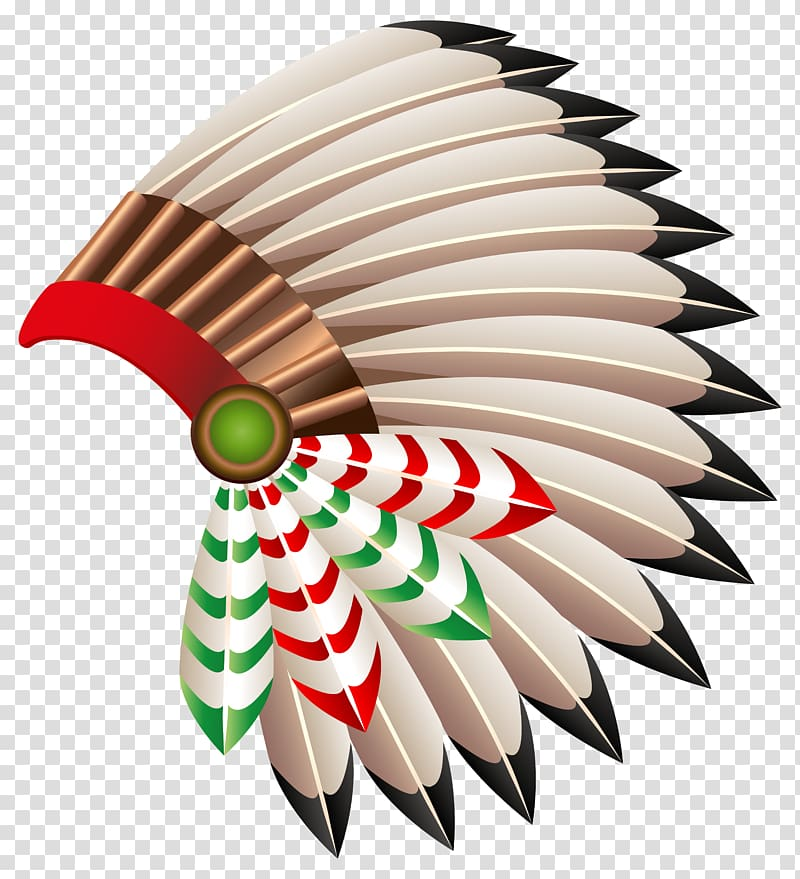 Brown and red native american headdress, War bonnet Native.