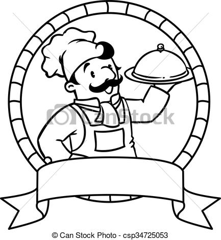 Funny cook or chief. Coloring book. Emblem.