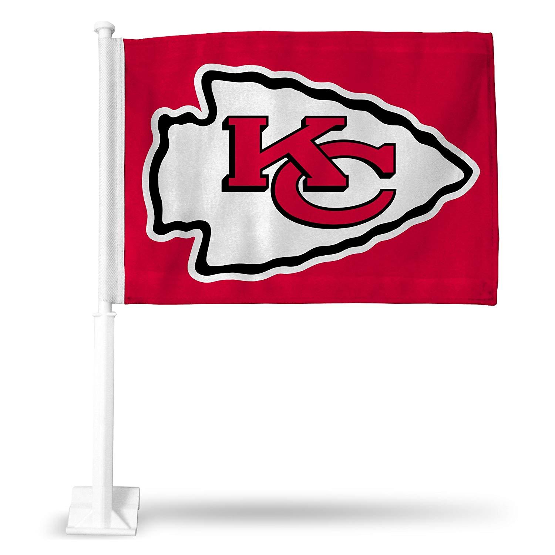 NFL Chiefs Arrowhead Car Flag, Red, 8 x 1, Logo Color.