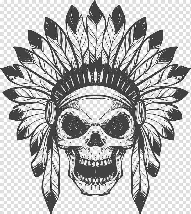Skull of tribal chieftain illustration, T.