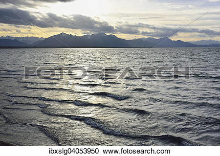 Stock Photography of Abendrot am Chiemsee, Silhouette Chiemgauer.