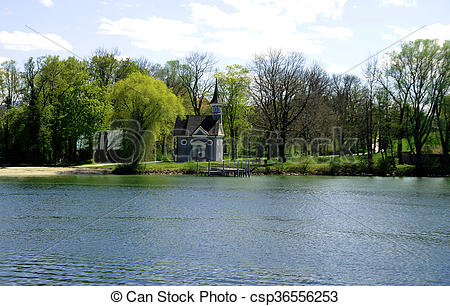 Stock Images of Herreninsel, Lake Chiemsee, Bavaria with chapel.