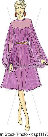 Clip Art Vector of woman in chiffon dress.