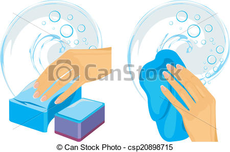 Vector Clip Art of Sponges and cleaning rag in female hand. Vector.