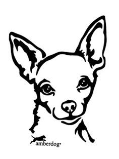 Chihuahua dog breed face Free Halloween pumpkin carving stencil.