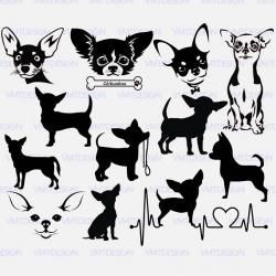 Chihuahua black and white clipart, transparent.