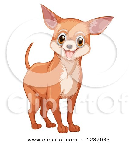 Clipart of a Happy Tan Chihuahua Dog.