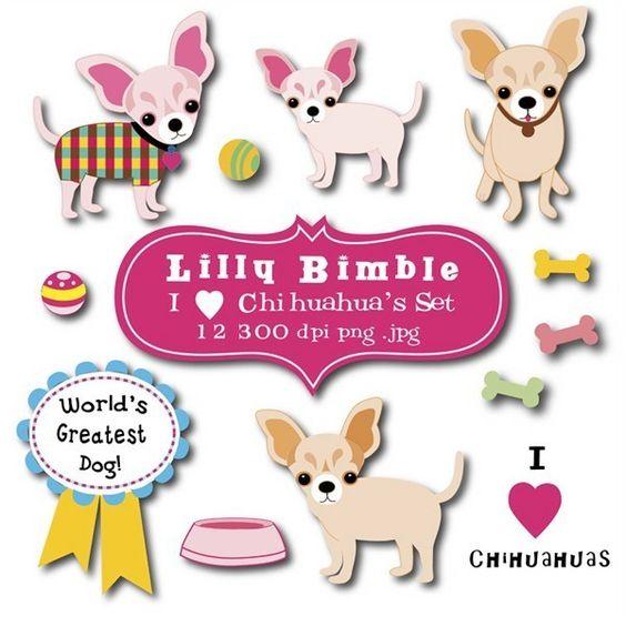 Chihuahua Clip Art Set. $1.00, via Etsy..