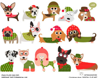 clipart of christmas and dogs #2
