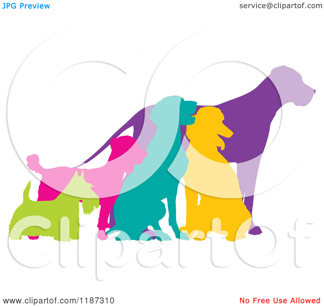 Cartoon of Colorful Silhouetted Scottie, German Pointer, Poodle.