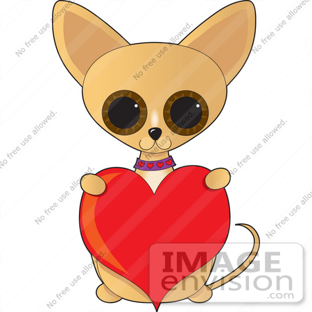 Clip Art Graphic of a Caring Chihuahua Puppy Holding Up A Red.