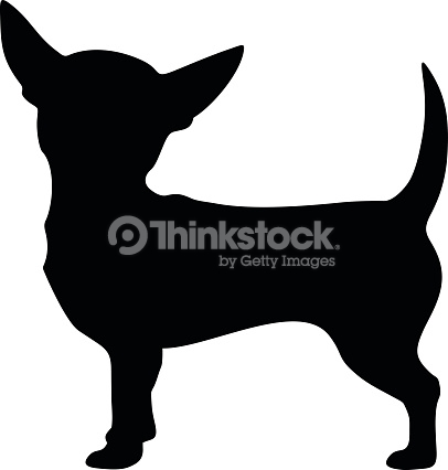 Chihuahua Dog Vector Black Silhouette Vector Art.