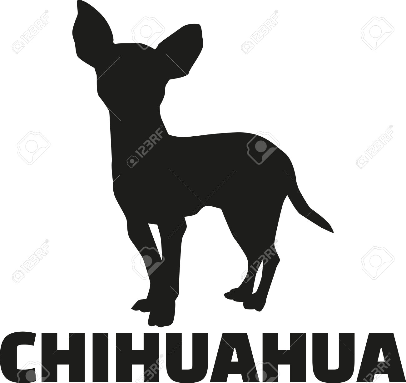 Chihuahua Silhouette With Breed Name Royalty Free Cliparts.