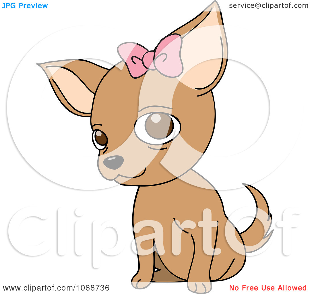 Clipart Female Chihuahua With A Bow.