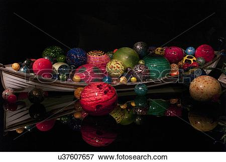 Picture of Boat of glass sculpture at the Chihuly Garden and Glass.