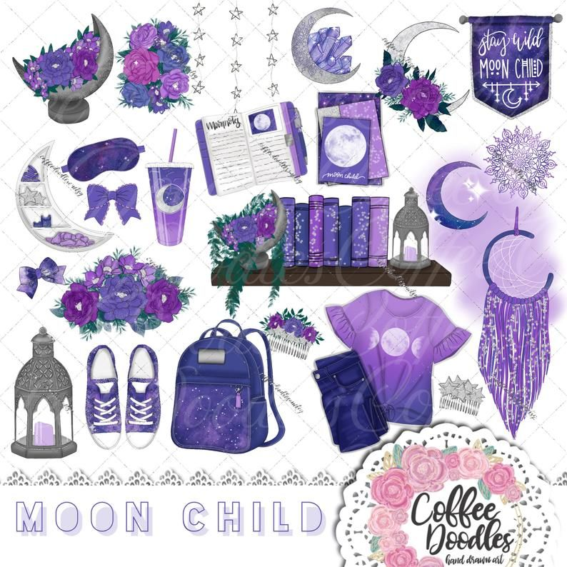 Moon Child Inspired Clipart Fashion Girl Clip Art.