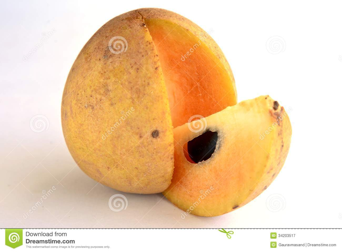 Chikoo Fruit Stock Photo.