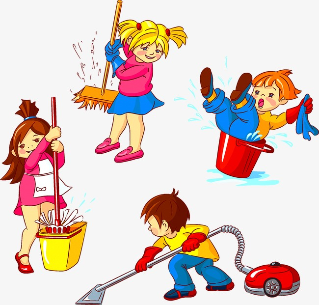Download Free png children clean cleaning, Chil.