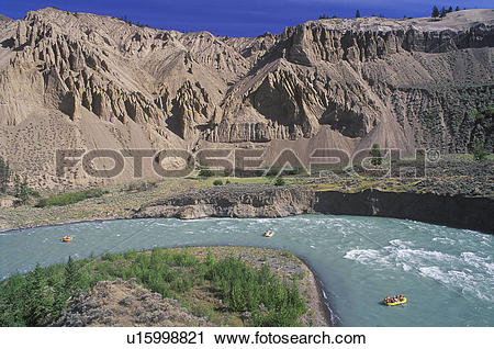 Stock Photography of Rafting, Chilcotin River Farwell Canyon area.