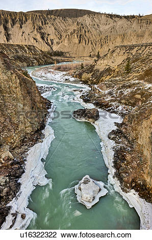 Stock Photo of The Chilcotin River, winter, ice flows, Farwell.