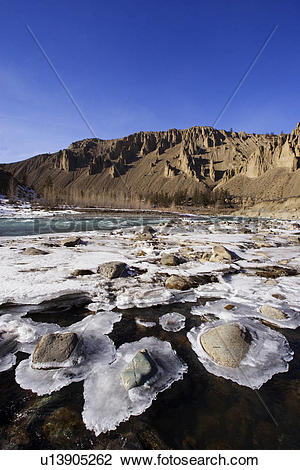 Stock Photo of Ice formations along the Chilcotin River, British.