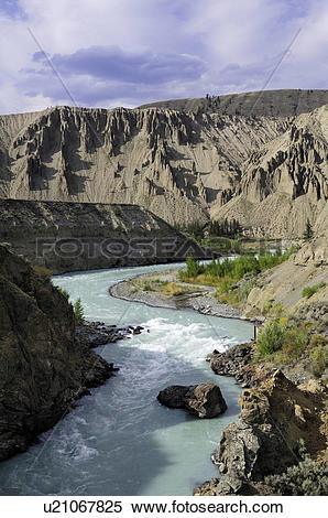 Stock Image of Hoodoos and the Chilcotin River at Farwell Canyon.