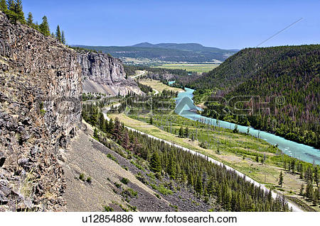 Stock Images of Bull Canyon and Chilcotin River along Highway 20.