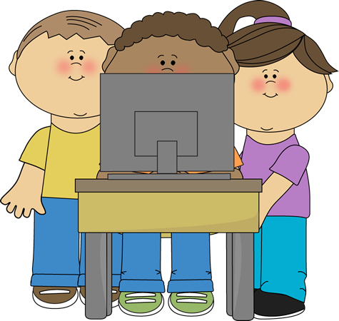 Kids using a school computer from MyCuteGraphics.