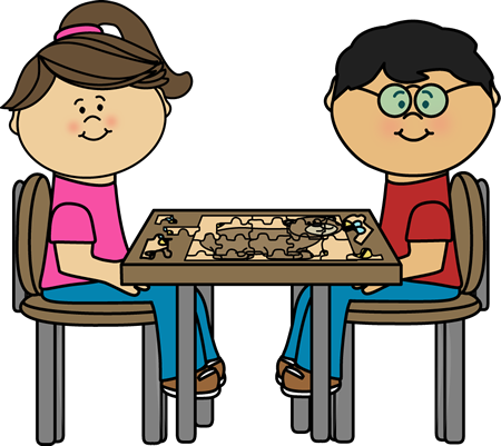 Children Putting Puzzle Together at a Table Clip Art.