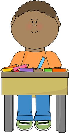 Child working at table clipart.