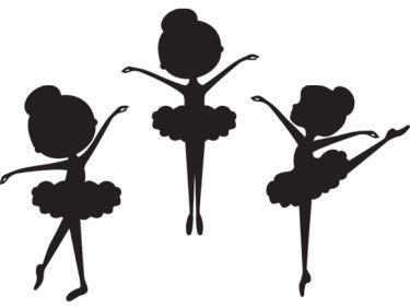 Little Ballerina Silhouette Clipart.