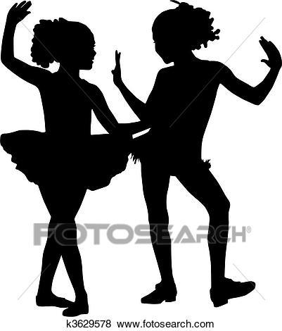 Silhouette dancer children Clip Art.